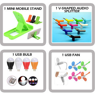 Combo of 4 in 1 Mobile Accessories (1 MINI MOBILE STAND + 1 V-SHAPED AUDIO SPLITTER +1 USB BULB+ 1 USB FAN)