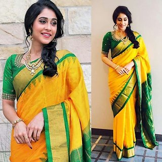 Yellow Art Silk Block Print Saree with Blouse Piece