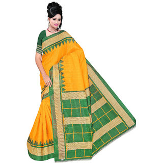 SVB Saree Yellow Art Silk Block Print Bhagalpuri Saree With Blouse Piece