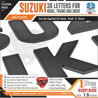 CarMetics Suzuki 3D Letters for Maruti Suzuki Wagon R Black Glossy Black 3d-Sticker Emblem Logo Accessorie Decals Exteri
