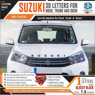 CarMetics Suzuki 3D Letters for Maruti Suzuki Alto Glossy Black 3d-Sticker Emblem Logo Accessorie Decals Exterior