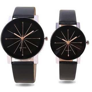Morli Black Crystal Style Unique Couple Watch For Men And Women Combo