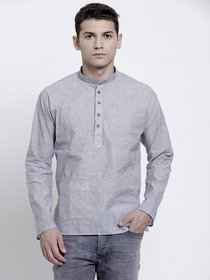 RG Designers Plain Light Grey Full Sleeves Cotton Short Handloom Kurta for Men