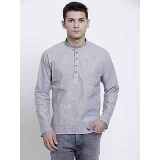 RG Designers Plain Light Grey Full Sleeves Cotton Short Handloom Kurta for Men