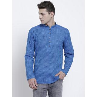 RG Designers Printed Blue Full Sleeves Cotton Short Kurta for Men