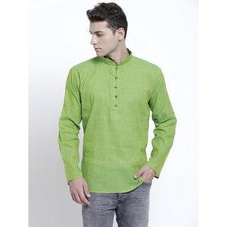 RG Designers Printed Green Full Sleeves Cotton Short Kurta for Men