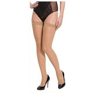 Neska Moda Women Beige Nylon Thigh Highs Stockings
