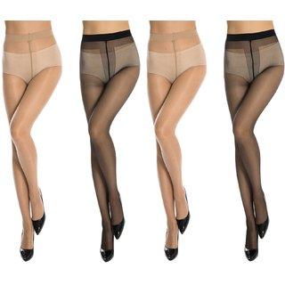 Neska Moda Women 4 Pair Nylon Black And Skin Panty Hose Stockings STK4andSTK6 2Seteach