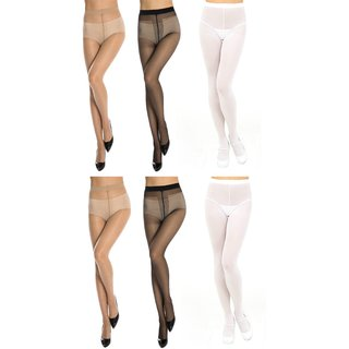Neska Moda Women 6 Pair Nylon Black White And Skin Panty Hose Stockings STK4andSTK5andSTK6 2Seteach