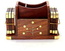Desi Karigar Decorative Pen Stand Office Stationery Wooden Mobile Holder With Coaster For Office Desk l  Attractive Ho