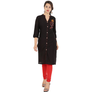 Purvahi Black color Plain Cotton Stitched Kurtis With New  design