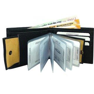 Wildantler Men Black Artifical Leather Wallets (6 Card Slots)