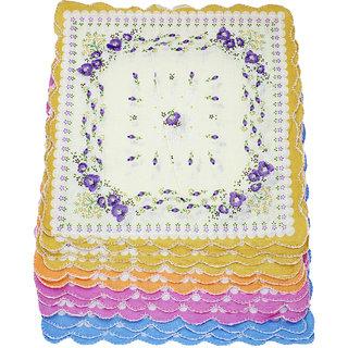 Neska Moda Pack Of 12 Women Floral Cotton Handkerchiefs 31X31 CM H48