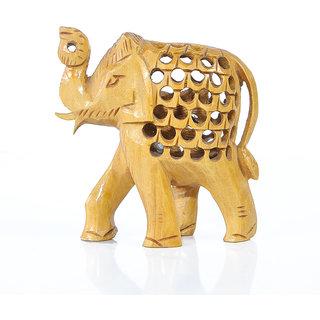 HBN RAJASTHANI WHITE WOODEN HAND CRAVED ELEPHANTS SET OF 5