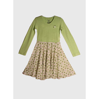 Gron Stockholm Green Color Full Sleeve Dress For Girls With Freebie