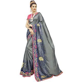 ca9f22d8eb Buy Triveni Grey Chanderi Silk Party Wear Embroidered Saree Online ...