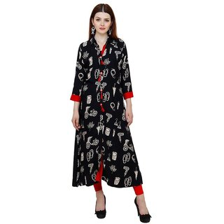 Fascraft Women's Smart Abstract Print Black Cotton Kurti