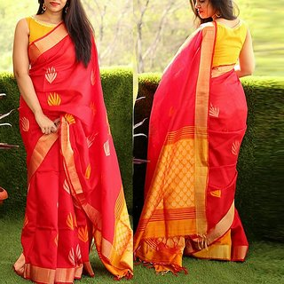SVB Saree Red Bhagalpuri Silk Saree With Blouse