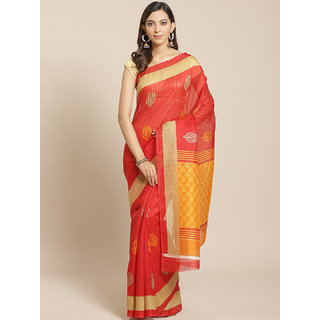 Sharda Creation Red Colour Bhagalpuri Printed Saree With Blouse Piece