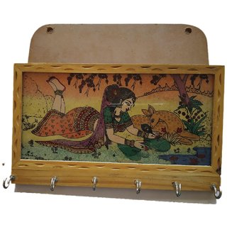 Ramani Handicraft Wooden Wall Decorative 6 Key Hooks Holder