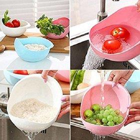 Ankur Big Size Plastic Grains Vegetable Washing Bowl Strainer (Assorted Colour).