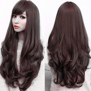 Gulzar  Full Head Long Stylish Hair Wigs for Girls / Women In Very Fine Quality in Natural Black Color