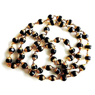 Natural Black Tulsi Beads in Golden Cap Rosary Japa Mala Beads Wood Necklace