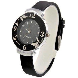 1M Black Beauty Flower Design Pu Black strap Round dial Analog Watch for Women Girls
