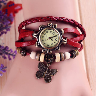 Festive  Bracelet Vintage Watch - Red with Butterfly Hanging