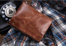 ANJ Men Casual Tan Genuine Leather Wallet  (8 Card Slots)