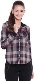 Texco Woman Grey& Black Stylish Hooded Reversible Shirt