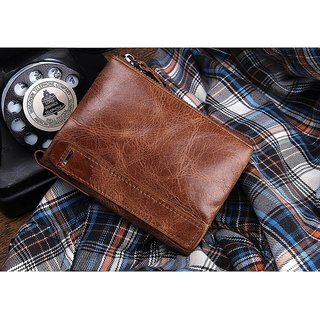 ANJ Men Casual Tan Genuine Leather Wallet (8 Card Slots)