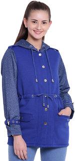 Texco Woman Hooded Stylish Blue Winter Parka Jacket