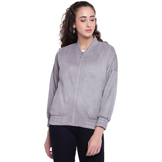 Texco Woman Grey Emboss Puffer Suede Bomber Jacket
