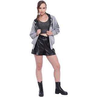 Texco Grey Hooded Printed Women Jacket