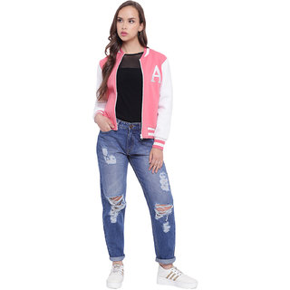 Texco Pink Women Varsity Bomber Jacket