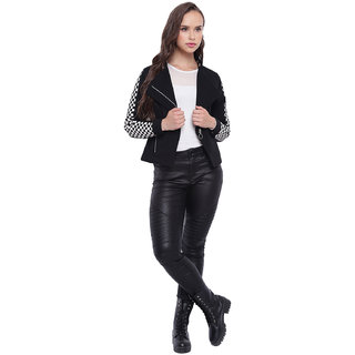 Texco Black Suede Sylish Biker Women Jacket