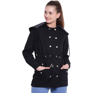 Texco Woman Stylish Black Winter Detachable Hooded Parka Coat
