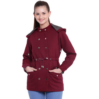 Texco Woman Stylish Maroon Winter Detachable Hooded Parka Coat