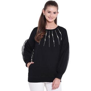 Texco Woman Black Pearl Embellished  Sweatsirt