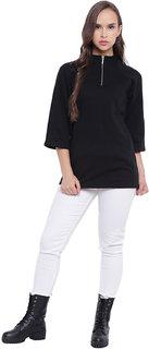 Texco Black Mock Neck Women Sweatshirt