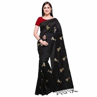Pari Designerr Black Chanderi Cotton Embroidered Saree With Blouse