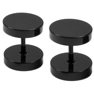 Men Style Non Plated Black Stainless Steel Studs for Women- 1 Pair
