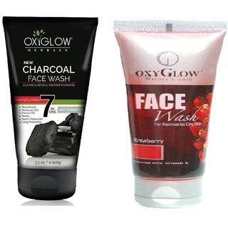 OxyGlow Charcoal Face Wash 100ml with OxyGlow Strawberry Face Wash 100ml Combo