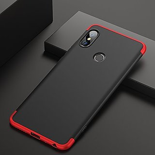 MOBIMON Redmi Y2 Front Back Case Cover Original Full Body 3-In-1 Slim Fit Complete 3D 360 Degree Protection - Black Red