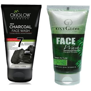 OxyGlow Charcoal Face Wash 100ml with OxyGlow Neem Tulsi Face Wash 100ml Combo