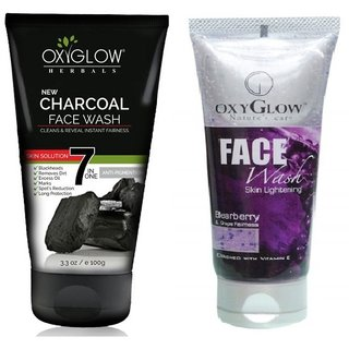 OxyGlow Charcoal Face Wash 100ml with OxyGlow Bearberry Grape Face Wash 100ml Combo