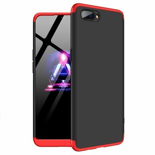 MOBIMON OPPO A5 Front Back Case Cover Original Full Body 3-In-1 Slim Fit Complete 3D 360 Degree Protection - Black Red