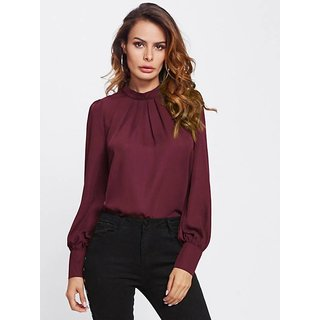 Code Yellow Women's Solid Maroon Puff Full Sleeve Top
