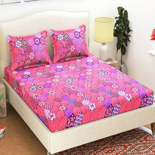 Azaani 100 Micro- Peach Polycotton 1 Double Bedsheet With 2 Pillow Covers